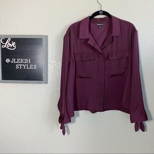 Express Maroon Button Up Cropped Long Sleeve Top